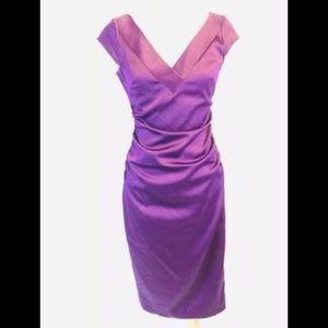 Maggy London Royal Blue sheath satin dress 10P